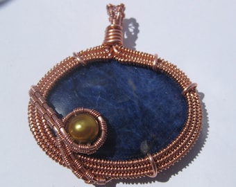 Copper, Solidite, and Natural Pearl Pendant