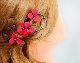 Black and red hair comb Floral headpiece  Red and black wedding Bridesmaid headpiece Wedding hair accessories Bridesmaid hair accessories