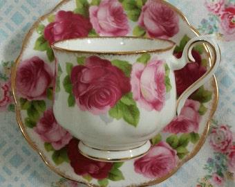 Royal Albert Old English Rose Teacup and Saucer  1940s