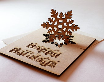 Snowflake Holiday Card Engraved on Wood