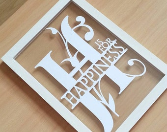 H is for happiness papercut in an a4 size floating frame