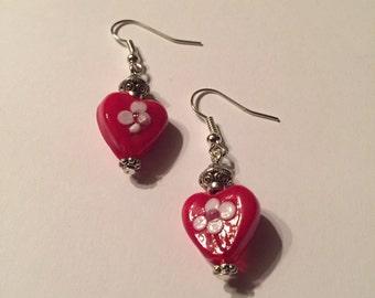 Heart Lampwork Bead Earrings