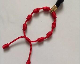 Baby Red Knot Bracelet, good luck charm.Black Hand Azabache(Mano Azabache Negro)
