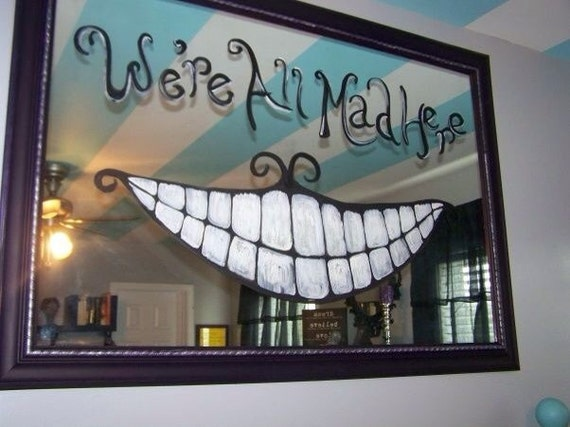 items similar to alice in wonderland hand painted mirror