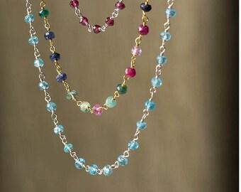 Gemstone necklace Silver Rosary Necklace Gold Rosary Necklace Dainty Necklace Sterling Silver Layering Necklace ruby aquamarine tourmaline