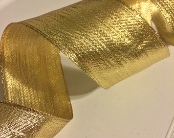 """Solid Gold Wired Ribbon, 2.5"""""""