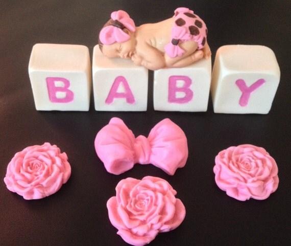 Fondant edible baby girl with letter blocks cake topper for