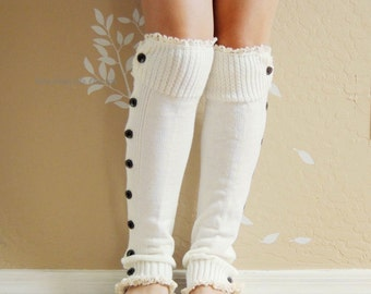 Beautiful Ivory white lacy Leg warmers.boots leg warmers with cute double lace,Lovely Birthday gift for her. Lace boot leg warmers