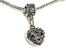 Sale Filigree Heart Charm on European Style Tibetan Silver Large Hole Spacer Beads Slider Charm Bail Pandora Chamilia Troll Biagi Style