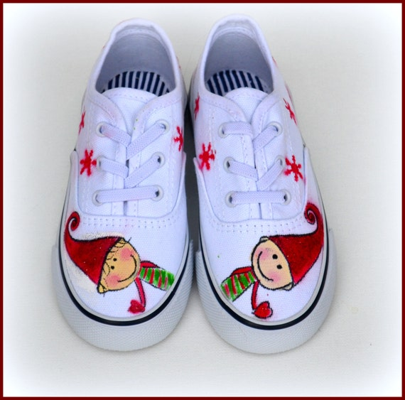 Kids Shoes, Christmas Shoes, Elf Sneakers, Canvas Shoes, Canvas Lace Shoes, Kids Holiday Shoes, Xmas Gift, Gifts for Kids, Toddler Shoes