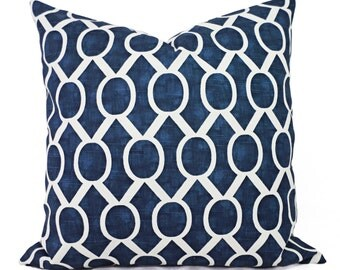Two Navy Blue Decorative Pillows - Two Navy Throw Pillow Covers - Navy Geometric Pillow - Navy Accent Pillows - Decorative Pillow