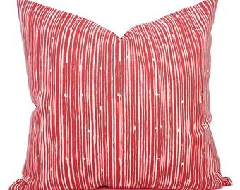 Two Coral Throw Pillows - Pillows - Coral Stripe Decorative Throw Pillows - Couch Pillows - Accent Pillow - Coral Pillows