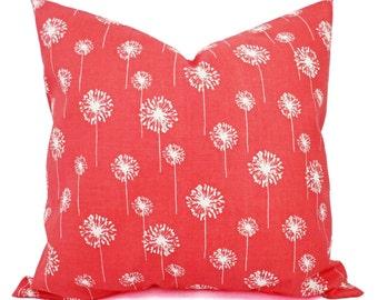 Two Coral Throw Pillows - Dandelion Pillows - Coral Dandelion Decorative Throw Pillows - Couch Pillows - Accent Pillow - Coral Pillows