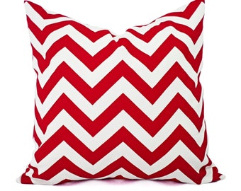 Chevron Pillow Covers - Red Pillow Cover - Pillow Cover Red White - Red Throw Pillow - Red Accent Pillow - Holiday Pillows - Red Pillows