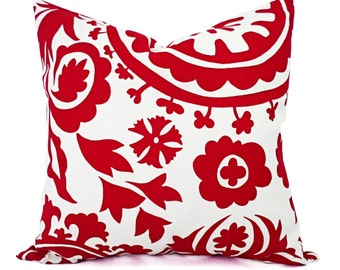 Two Red Pillow Shams - Red and White Suzani Pillow Cover - Red Pillows - Decorative Pillows - Red Pillow Covers - Red Throw Pillow - Pillows