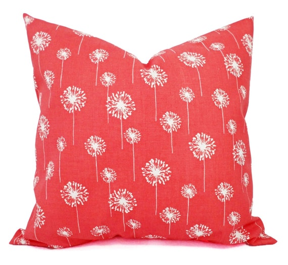 Coral Sofa Pillow: Two Coral Throw Pillows Dandelion Pillows By CastawayCoveDecor