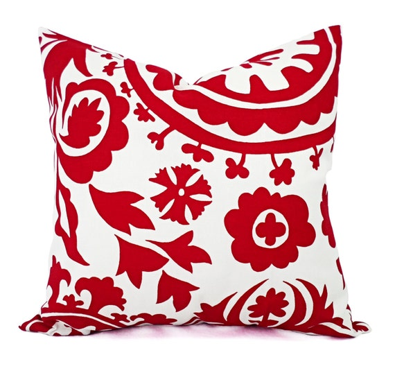 Decorative Pillow Cover Mcqueen Red Multi : Two Red Pillow Shams Red and White Suzani by CastawayCoveDecor