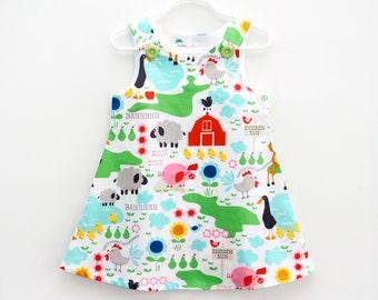 Farm Life Print Toddler Jumper Dress, Farm Animals Birthday Jumper, Barnyard Party Jumper, Farm Animals, Girls Summer Dress