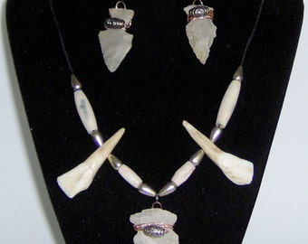 G Elk teeth Bone, Stone Arrowhead Set Necklace and Stone Arrowhead Earrings, Arrow Points, Teeth, Bone Pipe Beads Copper Wiring