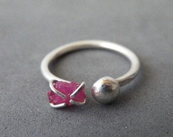 Dual Gemstone Ring Raw Ruby Sterling Silver Nugget Boho Ring Adjustable Ring Gemstone Jewelry by SteamyLab