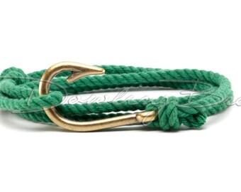 Green Cotton Rope Fish Hook Bracelet