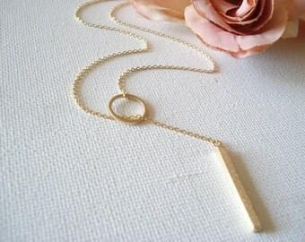 Gold Lariat Bar necklace...Adjustable Karma Vertical bar, dainty minimalist, everyday simple jewelry, sorority, wedding, bridesmaid gift