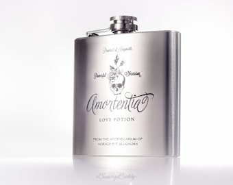 Amortentia Love Potion Flask, inspired by Harry Potter -  Laser Engraved Hip Flask
