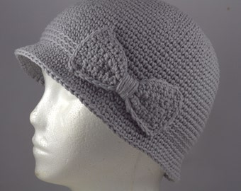 Cloche Hat in Bluish Gray for Cancer Patients