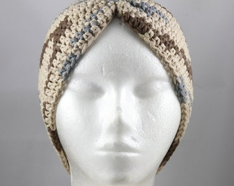 Turban Hat for Cancer Patients in Tan, Brown and Gray Ombre