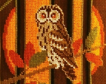 60s vintage wall hanging tapestry owl made in sweden embroideref handmade tapestry Scandinavian design home decor