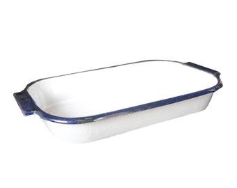 Vintage White and Blue Enamel Pan
