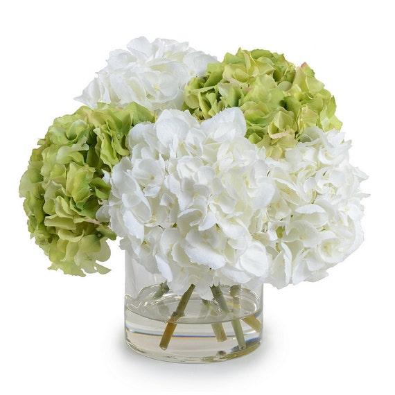 Faux Hydrangea Arrangement: Silk Off White Green Hydrangeas Arrangement Centerpiece