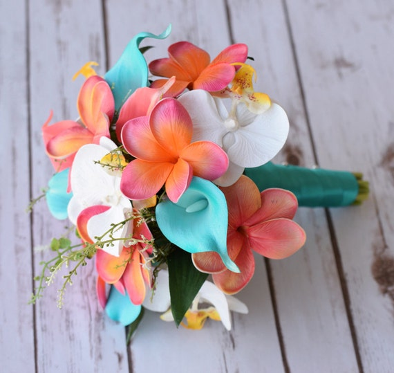 Wedding Coral Orange And Turquoise Teal Natural Touch By