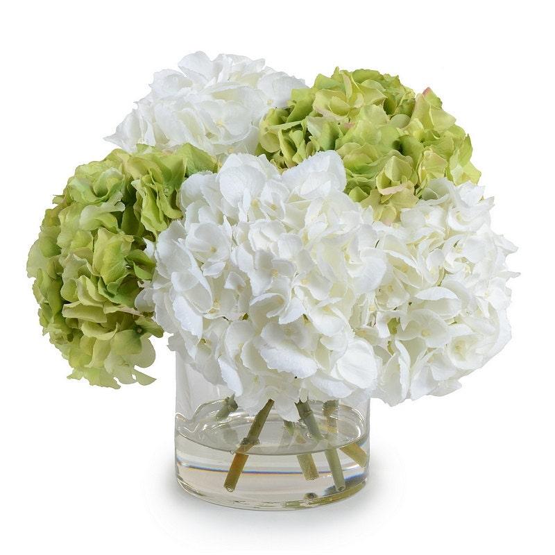 Silk off white green hydrangeas arrangement centerpiece