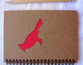 Cardinal Peek-a-boo- 5 x 7 journal- Your choice Peek a boo color
