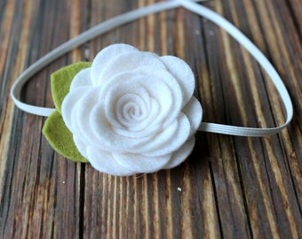 White felt flower headband  - newborn/baby/toddler headband - flower headband - photo prop