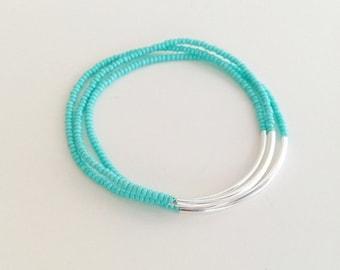 Turquoise bracelets, aqua bracelets, strechy bracelets, noodle seed bead bracelets, seed bead bracelet, silver bracelet, minimalist, noodle