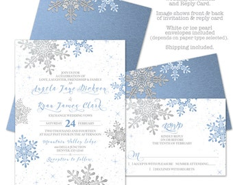 Lapis Blue Silver White Snowflake Winter Wedding Invitation and RSVP Reply Card Printed