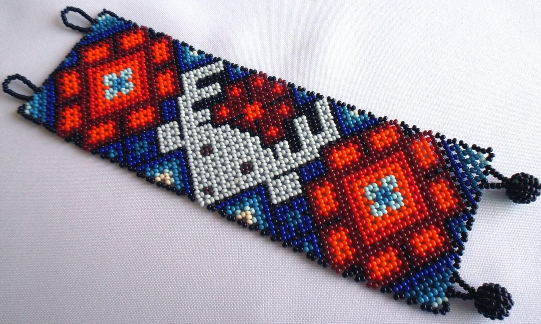mexican huichol beaded deer and peyote bracelet