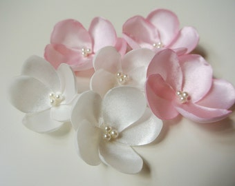 9 Singed Satin Flowers Flower Embellishments Ivory Pink  Fabric Flower Applique with DIY Wedding Flower Supplies Crafts Floral Supply UK