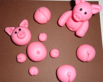 Edible Fondant Pigs Set of 10 pieces for PIGS in the MUD Cake