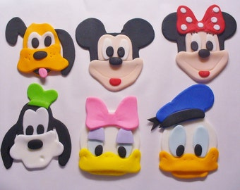 Classic Favorites:  Mickey Minnie Donald Daisy Pluto Goofy Edible Fondant Cupcake Toppers