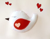 Valentines day gift, love bird, choose a name to sew on it, love gift, bird in love,   Felt Stuffed Animal
