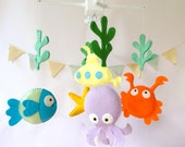"Baby Crib Mobile - Baby Mobile - Nursery Crib Mobile - Ocean Mobile - ""Under the Sea Creatures"""