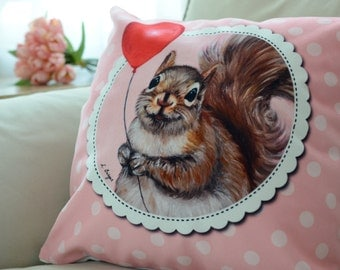 Squirrel cushion cover - squirrel pillow cover - squirrel home decor- animal cushion-kids pillow- nursery decor -children cushion cover
