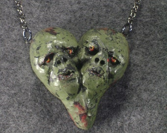 Zombie heart necklace - A - polymer clay double zombie heart