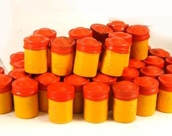 Vintage Yellow Kodak Metal Film Canisters With Orange Screw Tops for Collecting or Geocaching (FC 109)