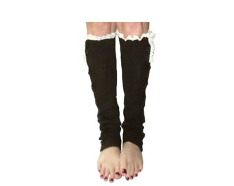 Chocolate Brown Slouchy Button Down Leg Warmers w/Ivory Knit Lace