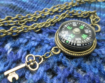 Steampunk Compass Necklace - Green Compass with Key