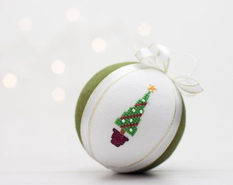Christmas decoration, hand embroidered ornament with cross stitch picture
